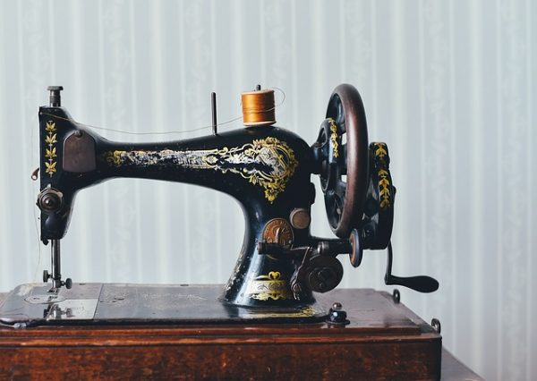 Photo of an antique sewing machine