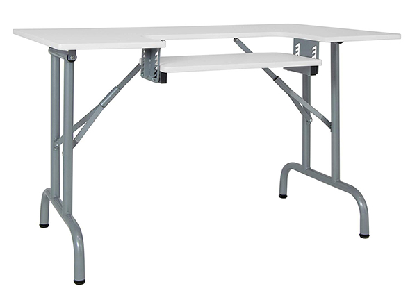 Sew Ready Folding Multipurpose/Sewing Table Craft Table Sturdy Computer Desk, Silver/White