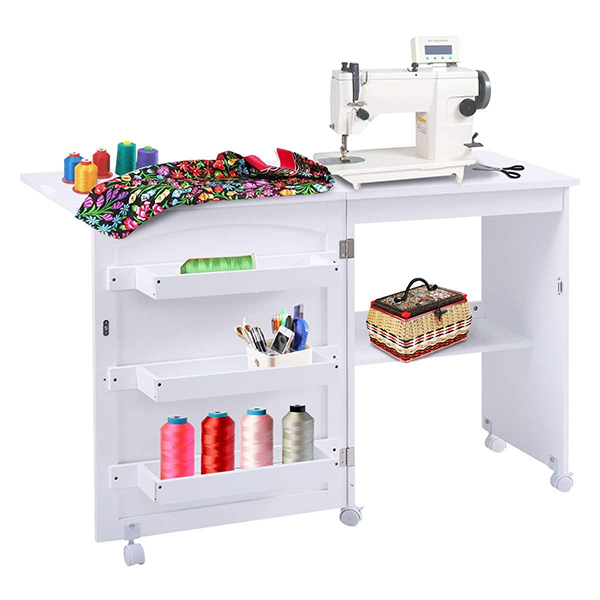 Giantex White Folding Sewing Craft Cart Table Shelves Storage Cabinet Home Furniture W/Wheels