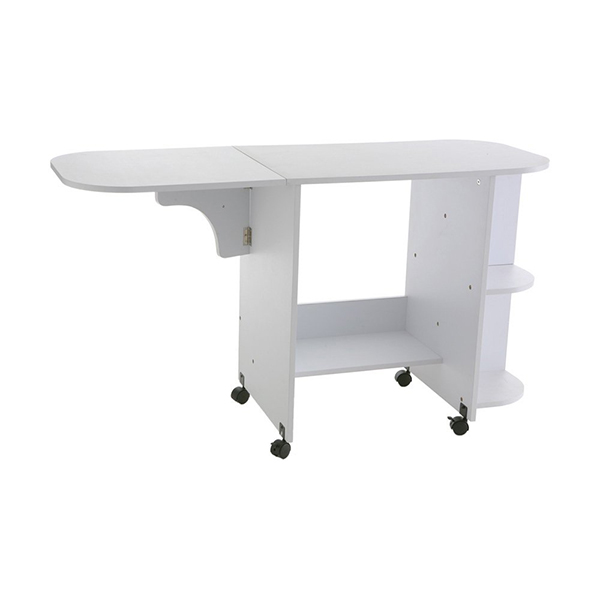 """Southern Enterprises Eaton Rolling Craft Station Sewing Table 31.5"""" Wide, White Finish"""