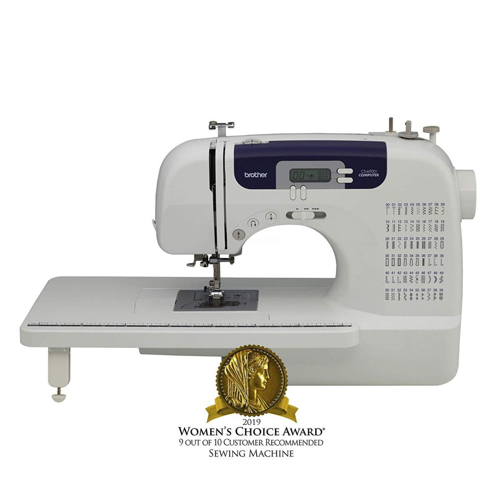 Brother Sewing and Quilting Machine, CS6000i, 60 Built-In Stitches, 7 styles of 1-Step Auto-Size Buttonholes, Wide Table, Hard Cover, LCD Display and Auto...